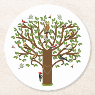 Family Tree Round Paper Coaster