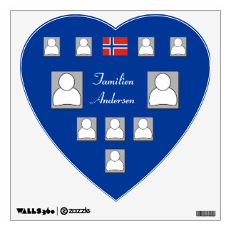 Family Tree Style Photo Decal with Norwegian Flag