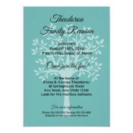 Family Tree Teal Green Family Reunion Invitation