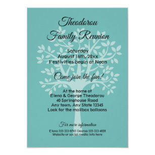 Family reunion invitations announcements zazzle family tree teal green family reunion invitation stopboris Image collections
