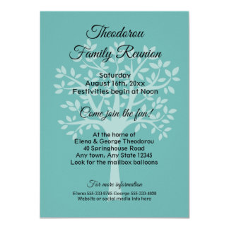Family reunion invitations announcements zazzle family tree teal green family reunion invitation stopboris Gallery