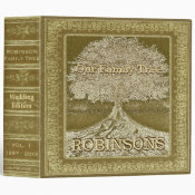 Family Tree | Vintage Gold Wedding Tree 3 Ring Binder (<em>$24.15</em>)