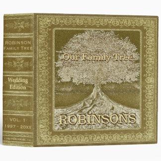 Family Tree   Vintage Gold Wedding Tree Vinyl Binder