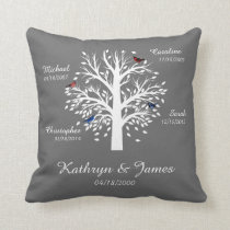 Family Tree, White Tree on Gray  w/ Names & Dates Throw Pillow