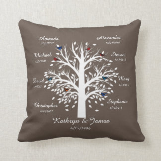 Family Tree, White Tree on Taupe, 8 Names & Dates Throw Pillow