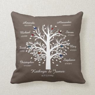 Family Tree, White Tree on Taupe, 8 Names & Dates Throw Pillow