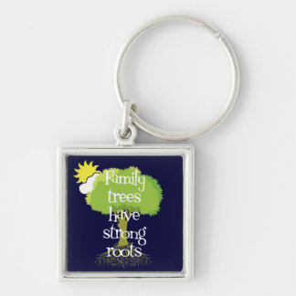 Family Trees Have Strong Roots Genealogy Key Ring Silver-Colored Square Keychain