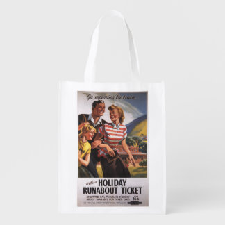 Family Trio on Holiday Runabout Savings Grocery Bag