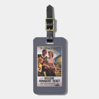Family Trio on Holiday Runabout Savings Luggage Tag