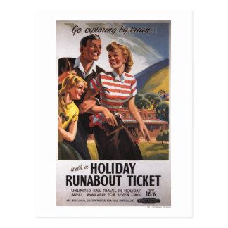 Family Trio on Holiday Runabout Savings Postcard