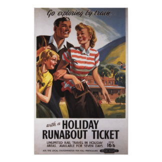 Family Trio on Holiday Runabout Savings Poster