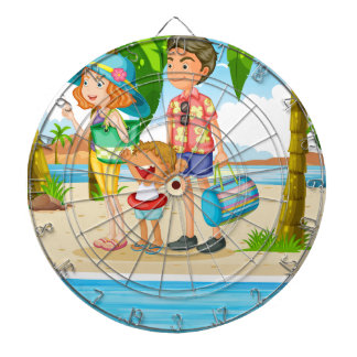 Family trip to the beach dart boards
