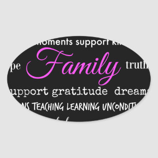 Family – Typographical Design Oval Sticker