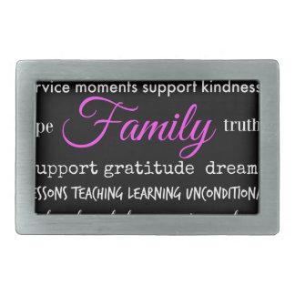 Family – Typographical Design Rectangular Belt Buckle