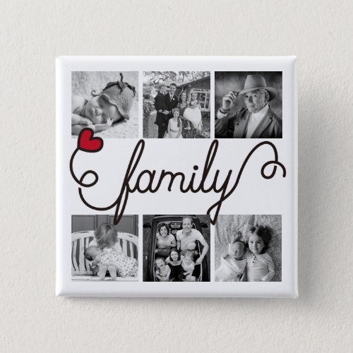 Family Typography Art Red Heart Instagram Photos Button