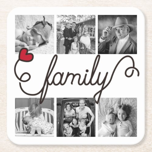 Family Typography Art Red Heart Instagram Photos Square Paper Coaster