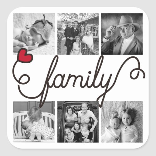 Family Typography Art Red Heart Instagram Photos Square Sticker
