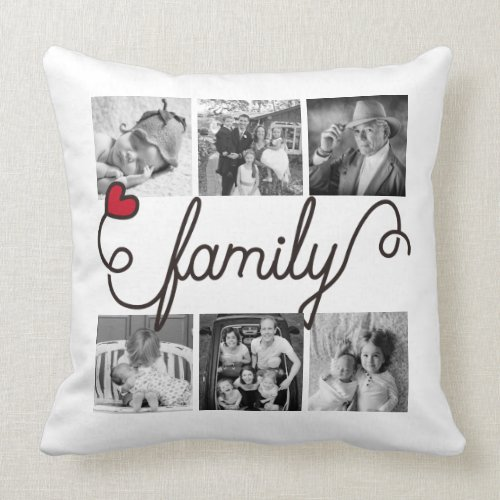 Family Typography Art Red Heart Instagram Photos Throw Pillow