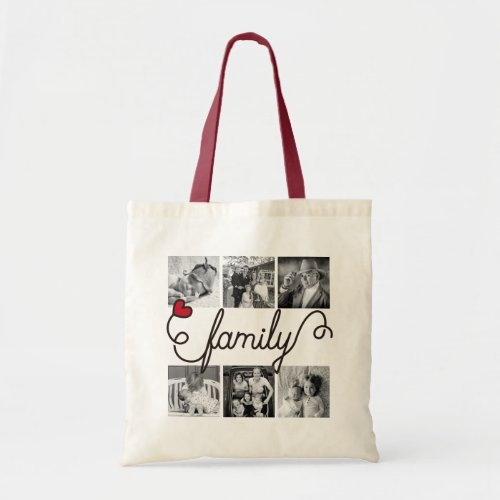 Family Typography Art Red Heart Instagram Photos Tote Bag