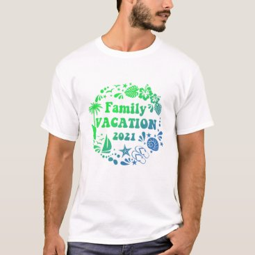 Family Vacation 2021 Summer Vibes Flip Flops Palm T-Shirt