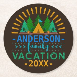 Family Vacation Camping Trip | Custom Name Year Round Paper Coaster