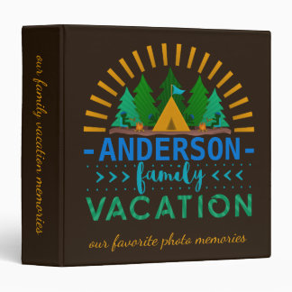 Family Vacation Camping Trip Memories Custom Name Binder