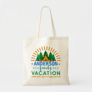 Family Vacation Funny Camping Trip | Custom Name Tote Bag