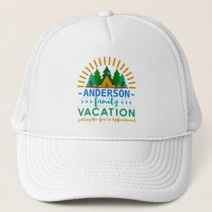 e12e9270993f17 Family Vacation Funny Camping Trip | Custom Name Trucker Hat