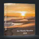 """Family Vacation Photo Album with Beach Sunset Binder<br><div class=""""desc"""">Binders are useful for many things, and this binder, which sports a beautiful sunset over a beach, is a great way to house all your family vacation photos and memorabilia. Change the text to accommodate your personal information, such a family name, vacation location, etc. Add memorabilia and photos, and you&#39;ll...</div>"""