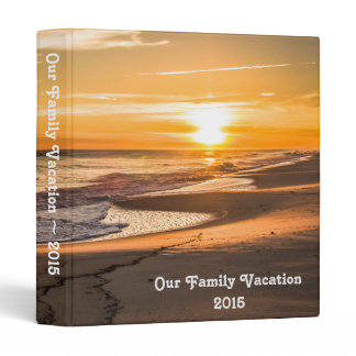 Family Vacation Photo Album with Beach Sunset Binder
