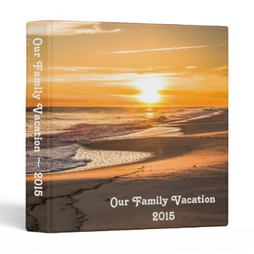 Beach Themed Family Vacation Photo Album with Beach Sunset Binder