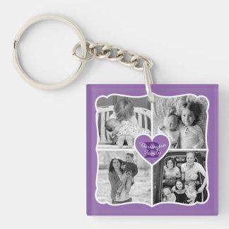 Family Valentine Instagram Heart Photo Grid Purple Keychain