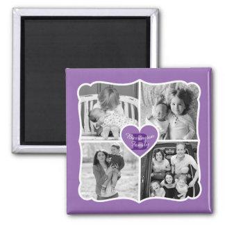 Family Valentine Instagram Heart Photo Grid Purple Magnet