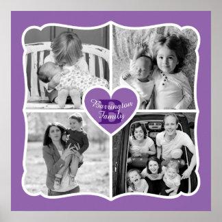 Family Valentine Instagram Heart Photo Grid Purple Poster
