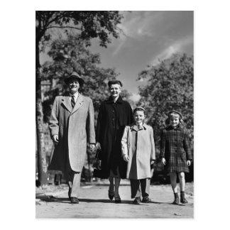 Family Walking Postcard
