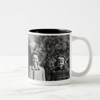 Family Walking Two-Tone Coffee Mug