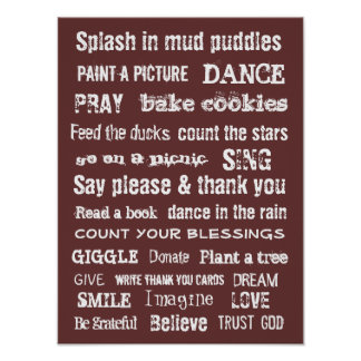 Family wall hanging Important things to remember Poster