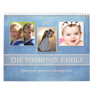 Family Watercolor Floral Personalized Photo Calendar