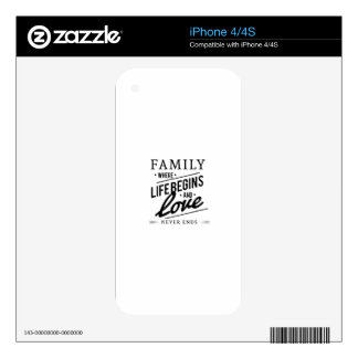 Family: Where Life Begins And Love Never Ends Decals For iPhone 4S
