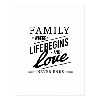 Family: Where Life Begins And Love Never Ends Postcard