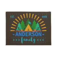 Family Whimsical Camping Theme   Add Name Doormat