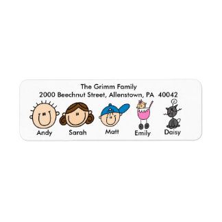 Family With Cat Address Labels