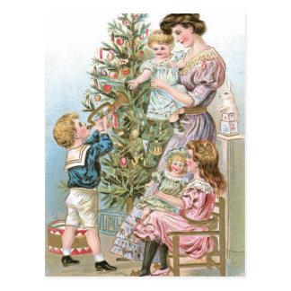 Family with Christmas Tree Postcard
