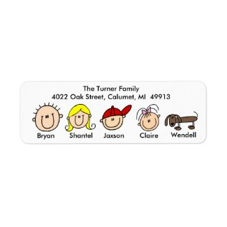 Family With Dog Address Labels label