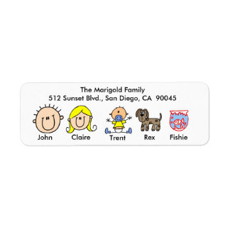 Family With Dog and Fish Address Labels