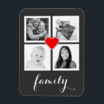"Family with Four Photos and Heart Magnet<br><div class=""desc"">Add 4 of your favorite photographs to this personalized flexi magnet. Four square cropped images are framed nicely in simple white squares, with a small red heart outlined in white in the center and flowing white handwriting script style text on the bottom that says family. Perfect for instagram photographers. Sample...</div>"