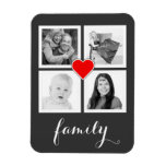 Family with Four Photos and Heart Magnet<br><div class='desc'>Add 4 of your favorite photographs to this personalized flexi magnet. Four square cropped images are framed nicely in simple white squares, with a small red heart outlined in white in the center and flowing white handwriting script style text on the bottom that says family. Perfect for instagram photographers. Sample...</div>