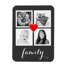 Family With Four Photos And Heart Magnet at Zazzle