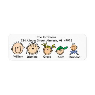 Family With Three Kids Address Labels label