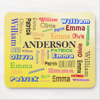 Family Word Cloud Lineage Name Collage Mouse Pad